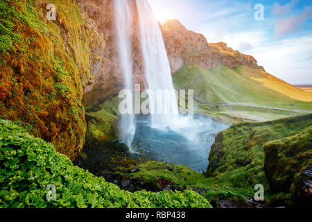Perfect view of famous powerful Seljalandsfoss waterfall in sunlight. Dramatic and gorgeous scene. Popular tourist attraction. Location place Iceland,