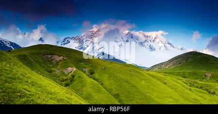 Beautiful alpine meadows at the foot of Mt. Shkhara. Dramatic overcast sky. Upper Svaneti, Georgia, Europe. Caucasus mountains. Beauty world. - Stock Photo
