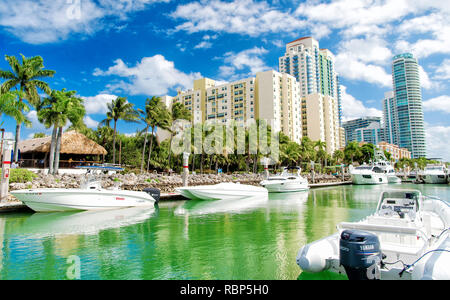 Miami, USA-February 19, 2017 :View of luxurious boats and yacht docked in a Miami South Beach Marina - Stock Photo