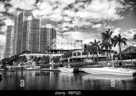 Miami, USA-February 19, 2017 : View of luxurious boats and yacht docked in a Miami South Beach Marina. Reach life concept. Real estate - Stock Photo