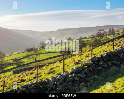 Looking along Bisopdale on a sunny winter day Yorkshire Dales England