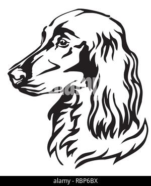 Decorative portrait of Dog Irish Setter, vector isolated illustration in black color on white background. Image for design and tattoo. - Stock Photo