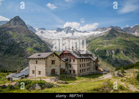 Berliner Hut mountain refuge in the Zillertal Alps of the Tyrol near the resort town of Mayrhofen in Austria - Stock Photo