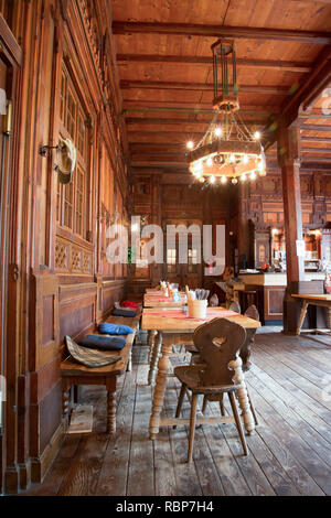 The interior of the splendid Berliner Hut mountain refuge in the Zillertal Alps of the Tyrol near the resort town of Mayrhofen in Austria - Stock Photo