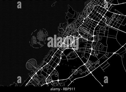Dark area map of Dubai, United Arab Emirates. This artmap of Dubai contains geography lines for land mass, water, major and minor roads. - Stock Photo