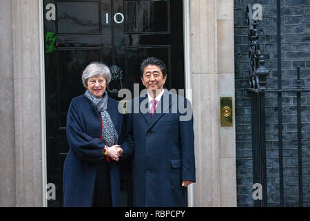 Theresa May, British Prime Minister, meets Shinzo Abe, the Prime Minister of Japan, for talks at 10 Downing Street. - Stock Photo