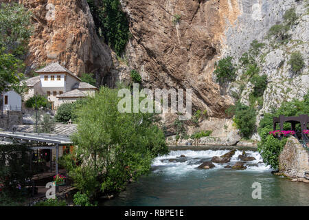 Blagaj Tekke is a Dervish monastery at the source of the Buna River in Bosnia and Herzegovina - Stock Photo