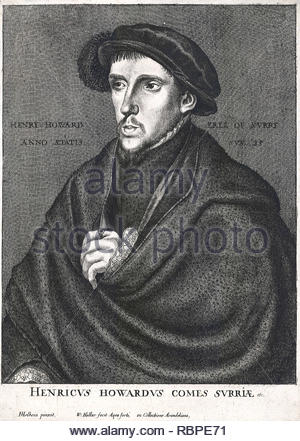 Henry Howard portrait, Earl of Surrey, 1516/1517 –  1547, KG, (courtesy title), an English nobleman, was one of the founders of English Renaissance poetry, etching by Bohemian etcher Wenceslaus Hollar from 1600s - Stock Photo
