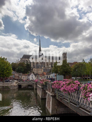 View of Notre Dame Cathedral in Amiens, France from the River Somme - Stock Photo