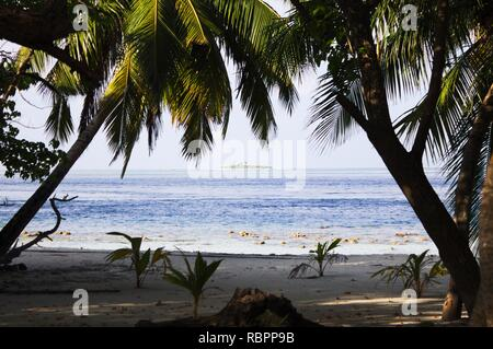 Desert island in Maldives (Bodukaashihuraa, Ari Atoll) - Stock Photo