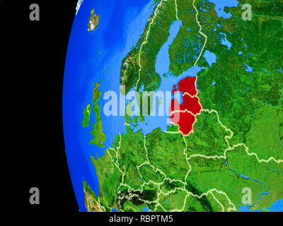 Baltic States from space on realistic model of planet Earth with country borders and detailed planet surface. 3D illustration. Elements of this image  - Stock Photo
