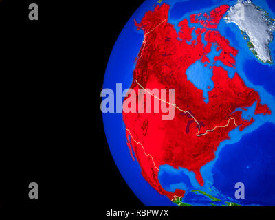 NAFTA memeber states from space on realistic model of planet Earth with country borders and detailed planet surface. 3D illustration. Elements of this - Stock Photo