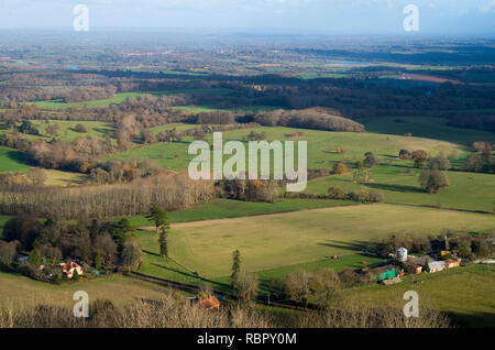 Farmland viewed from Chanctonbury Hill, West Sussex UK. - Stock Photo