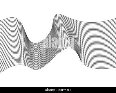 Wavy lines, wave stripe. Vector illustration. Stylized line art background. - Stock Photo