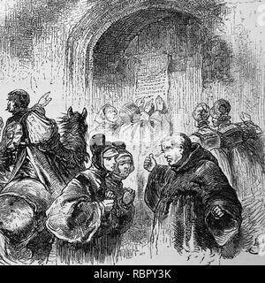 Martin Luther (1483-1546) naited to the door of the Wittenberg castle church his Ninety-Five These, 1517. Germania, 1882. - Stock Photo