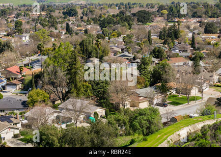 Aerial view of residential neighborhood in San Jose, south San Francisco bay, California - Stock Photo