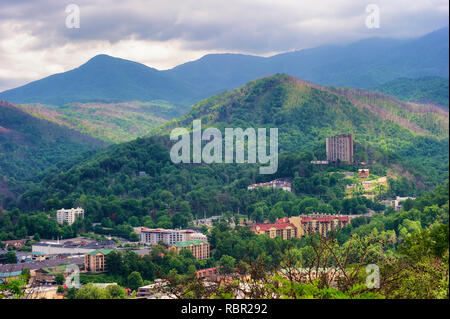 Gatlinburg Tennessee is well known at a gateway to the Great Smoky Mountain National Park. - Stock Photo