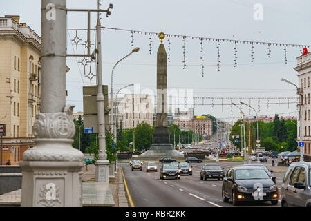 Minsk, Belarus, Victory Square and  Victory Square Obelisk, Minsk, Capital of Belarus, 06/11/2018 - Stock Photo