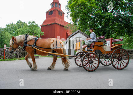 Stockholm, Sweden, skansen ethnographic Museum, a cart pulled by a horse - Stock Photo