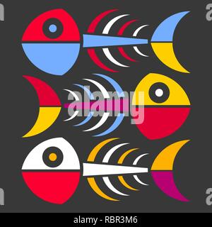 Abstract skeleton of a fish on a black background. Abstract background for interior design. - Stock Photo