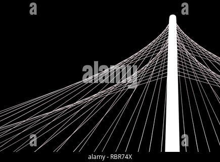 An abstract image of the geometric shapes and patterns formed by the cables and arches of the Margaret Hunt Hill Bridge in downtown Dallas, Texas - Stock Photo