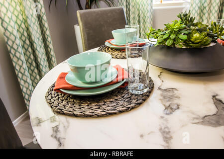 Place Setting On Round Marble Table - Stock Photo
