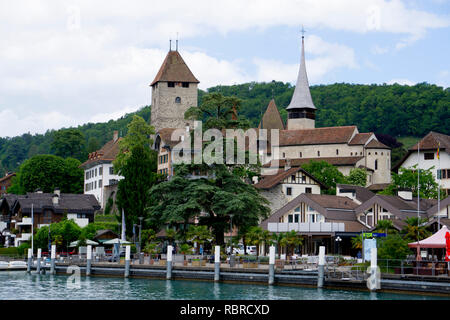 Banks of the Thun lake in the Spiez area - Stock Photo