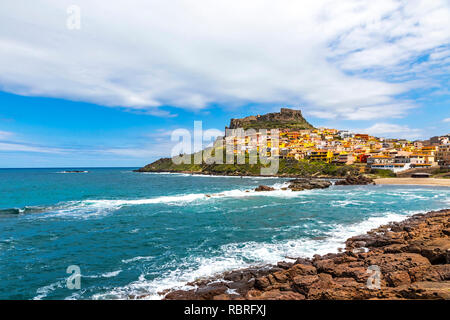Picturesque view of Medieval town of Castelsardo, province of Sassari, Sardinia, Italy. Popular travel destination. Mediterranean seacoast - Stock Photo