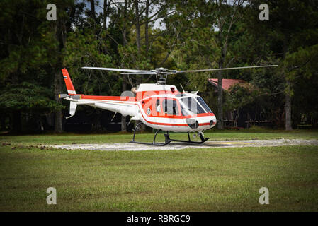 helicopter flying down on field on the forest / white red fly helicopter rescue - Stock Photo