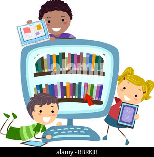 Illustration of Stickman Kids with Tablet Computers and a Computer Full of Digital Books - Stock Photo