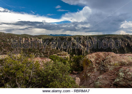 This overlook offers an expansive view of Rhyolite Canyon in Chiricahua National Monument. - Stock Photo