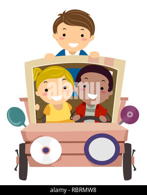 Illustration of Stickman Kids Riding a Car Recycled from Junk - Stock Photo
