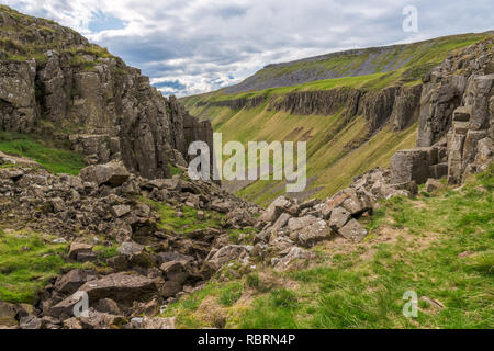 North Pennines landscape at the High Cup Nick in Cumbria, England, UK - Stock Photo