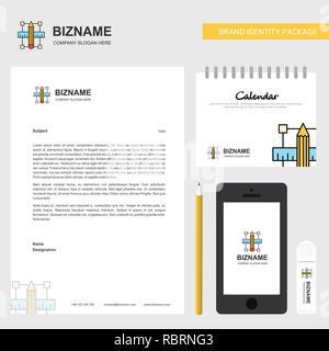 Pencil scale Business Letterhead, Calendar 2019 and Mobile app design vector template - Stock Photo