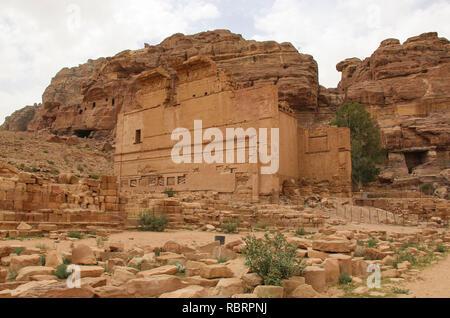 View to the temple Qasr Al-Bint. Nabataeans capital city (Al Khazneh).Petra, Jordan. - Stock Photo
