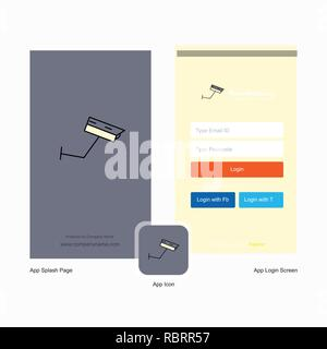 Company CCTV  Splash Screen and Login Page design with Logo template. Mobile Online Business Template - Stock Photo
