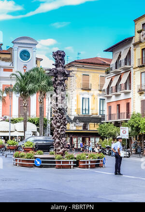 Traffic police man directing cars and pedestrians. Sorrento, Italy. - Stock Photo
