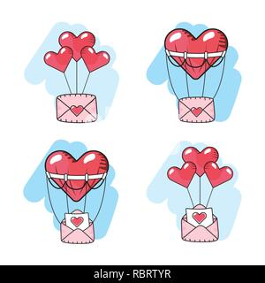 set hearts balloons with love cards - Stock Photo