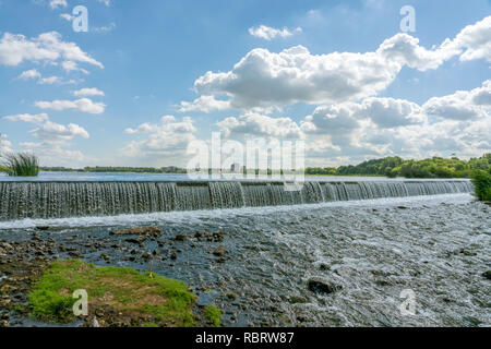 Regulated water flow of that flows through the middle of a city. Russia, Lipetsk.