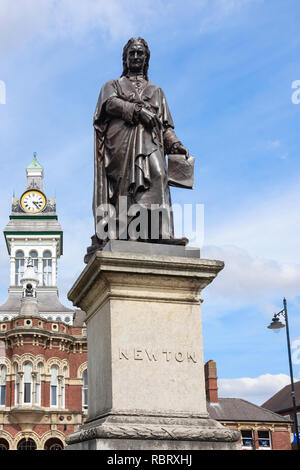 Isaac Newton statue and Guildhall Arts Centre, Saint Peter's Hill, Grantham, Lincolnshire, England, United Kingdom - Stock Photo