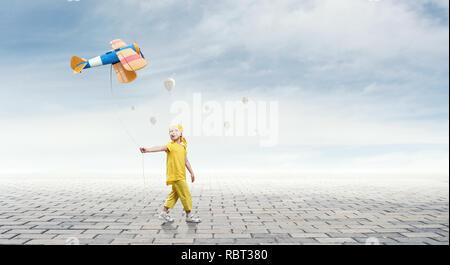 Careless happy childhood. Mixed media - Stock Photo