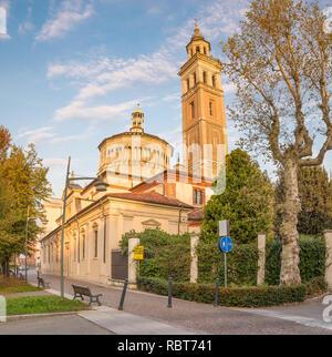 Sanctuary Beata Vergine dei Miracoli, Saronno, Italy; declared European Heritage. View from street Santuario, at sunrise - Stock Photo