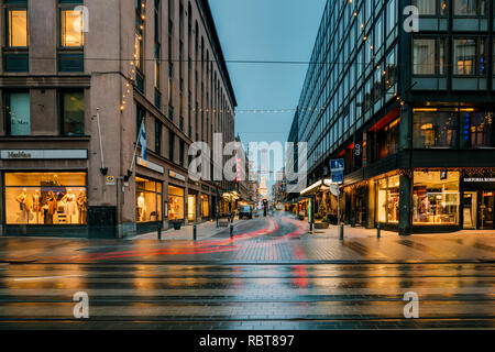 Helsinki, Finland - December 8, 2016: New Year Lights Xmas Christmas Decorations And Festive Illumination In Crossroad Of Aleksanterinkatu Street And  - Stock Photo