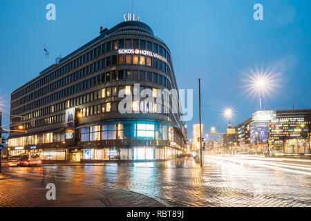 Helsinki, Finland - December 8, 2016: Original Sokos Hotel And Shopping Center Forum On Crossroad Of Kaivokatu Street And Mannerheimintie Or Mannerhei - Stock Photo