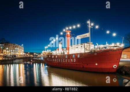 Helsinki, Finland - December 9, 2016: Moored Steamboat Relandersgrund Restaurant In Evening Night Illuminations. - Stock Photo