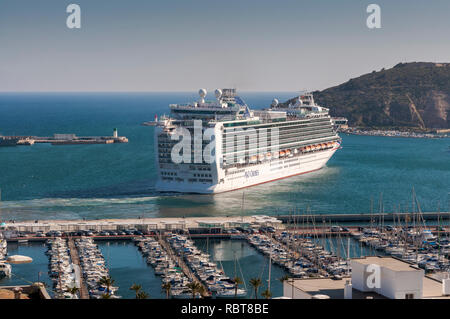 CARTAGENA, SPAIN – APRIL 12, 2017: Cruise leaving the port of Cartagena, in the province of Murcia, Spain - Stock Photo