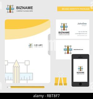 Pencil scale Business Logo, File Cover Visiting Card and Mobile App Design. Vector Illustration - Stock Photo