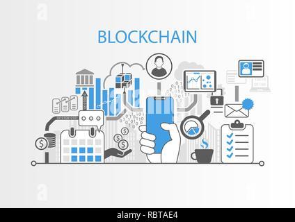 Blockchain concept with hand holding modern bezel free smart phone - Stock Photo