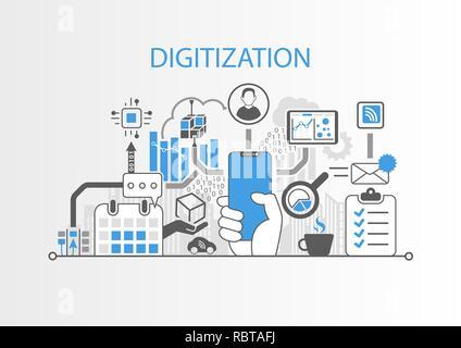 Digitization concept with hand holding modern bezel free smart phone - Stock Photo