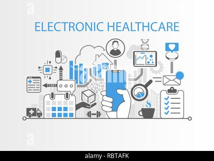 Electronic healthcare concept with hand holding modern bezel free smart phone - Stock Photo